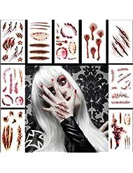 Tatouages Temporaires (10 feuilles) - Halloween Zombie Scars Tatouages Autocollants avec Fake Scab Blood Spécial Fx Costume Maquillage Props