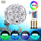 Submersible Pool Led Lights IR Remote Controlled 10-LED RGB Waterproof Battery (Included) Powered Lights for Aquarium, Vase Base, Pond, Garden, Party, Christmas, Halloween, Swimming Pool lights (4 PACK)