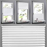 SHINY HOME® Plissee Weiß 100cm breit und 130cm hoch Jalousien für Fenster Tür klemmfix Plisseerollo ohne bohren mit Klemmträger