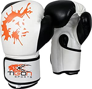 Tigon Boxing Gloves Leather Punch Bag Punching Boxing Gloves Black (14oz)