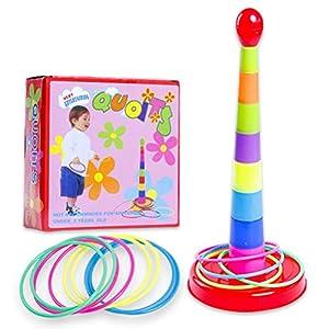 Deeabo Ringwurfspielset Buntes Ringwurfpuzzlespielspielzeug Stapelndes Spielzeugwerfendes Kreisspielspielzeug Plastikintelligenzentwicklungssportspielelternteilkind-Pädagogisches Spielzeug