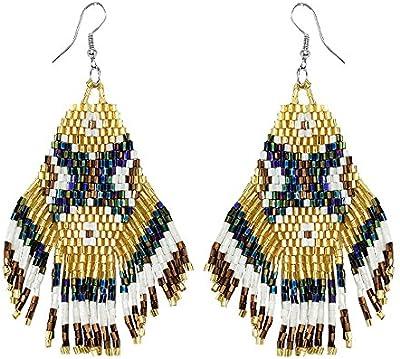 Pendientes de metal y Rocaille étnico corona de plumas india, multicolor