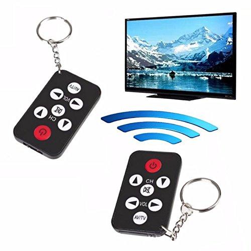 rot IR TV Fernseher Fernbedienung Controller 7 Tasten Schlüsselanhänger Wireless Smart Remote Controller Schwarz (Batterie nicht enthalten) (Universal Remote Controller)
