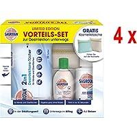 4 x Sagrotan Reiseset 3tlg - Hygienespray / Hygienetücher / Desinfektionsgel + Gratis Kosmetiktasche preisvergleich bei billige-tabletten.eu