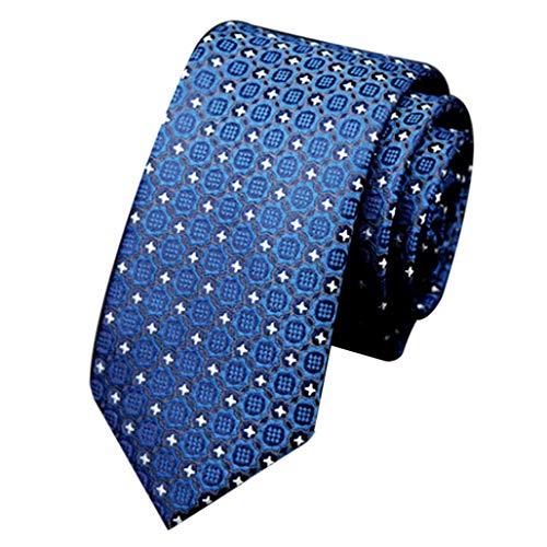 UJUNAOR Herren Krawatte in Plaid Punktemuster gewebte Seide(Blau 1)
