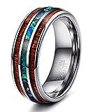 Yadoca 1 Stück 8 mm Natürliche Abalone Shell & Hawaiian Koa Holz Wolframcarbid Ring für Männer Hochzeit Ring Größe 7-14