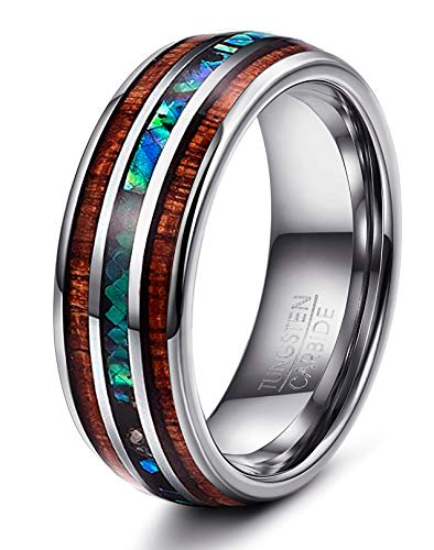 Yadoca 1 Stück 8 mm Natürliche Abalone Shell & Hawaiian Koa Holz Wolframcarbid Ring für Männer Hochzeit Ring Größe 7-14 (Größe 14 Verlobungsringe Für Männer)