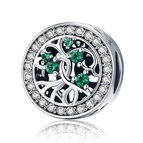Kreis Grün Zirkonia kubisch transparent Family Tree of Life Christmas Gifts 925Sterling Silber Charms Perlen passend für europäische Armband Schmuck