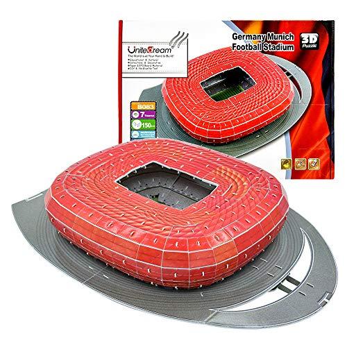 Apuzz 3D Puzzles, DIY Puzzles Fußball Stadion für Jungen und Mädchen von 3 bis 14 Jahren & 150 Puzzleteile - Deutschland München Allianz Fußballstadion (Die erste Wahl der Fußballfans)