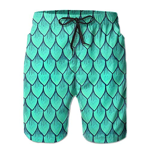 9b5eabbe0f Men's Dragon Scale In Shiny Blue Quick Dry Summer Beach Surfing Board  Shorts Swim Trunks Cargo