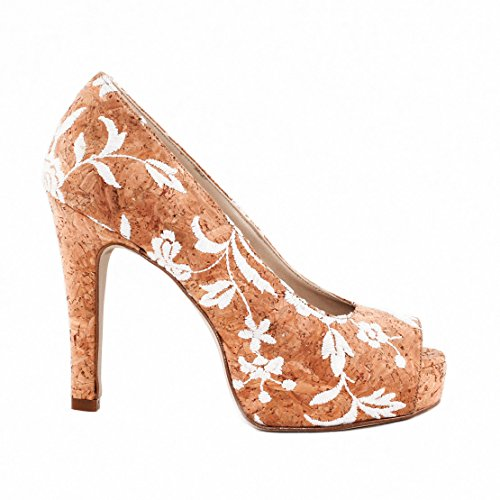 NAE Cork Rose Peep Toe - Damen Vegan Schuhe - 2