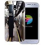 dessana New York City Lifestyle Transparente Silikon TPU Schutzhülle dünne Handy Tasche Soft Case für Samsung Galaxy J3 (2017) Wall Street Subway
