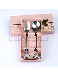 acmebuy (TM) 2pcs/lot argent cœur en acier inoxydable fourchette cuillère bébé douche souvenirs Baptême Mariage Fête d'anniversaire mignon cadeau