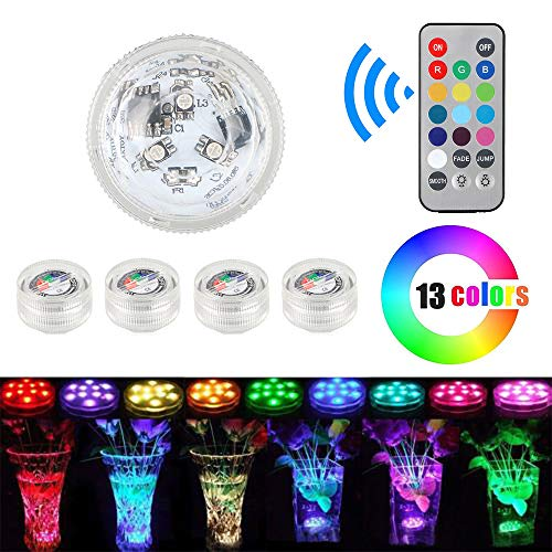 Tutmonda 5pcs Submersible RGB LED Lights Waterproof Underwater Battery Powered Lamp with Remote Controller for Pool Party Pond Fountain