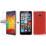 TBOC® Pack: Funda de Gel TPU Roja + Protector Pantalla Vidrio Templado para Nokia Microsoft Lumia 640 XL. Funda de Silicona Ultrafina y Flexible. Protector de pantalla Resistente a Golpes, Caídas y Arañazos.