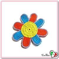 Flor amarilla, turquesa y naranja para aplicaciones, broche o imán de ganchillo - Tamaño