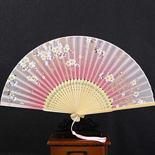 XIAOHAIZI Handklappventilator,White Flower Pink Hollow Summer Folding Fan Chinese Classical Ladies Wall Decoration Dance Fan - Lady Pink Flower