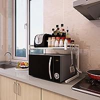 Comparador de precios Storage Box Estantes de cocina retráctiles, estante de microondas, los estantes del horno estantes de la tienda en 2 pisos Estante de especias (Color : B) - precios baratos