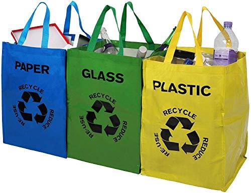 Premier Housewares 1900261 Lot de 3 Bacs à Tri Papier/Plastique/Verre
