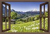 Artland Qualitätsbilder I Bild auf Leinwand Leinwandbilder Wandbilder 70 x 50 cm Landschaften Berge Foto Grün B8CX Fensterblick Bayerische Alpen