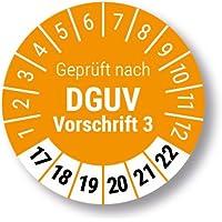 Prüfplakette Geprüft nach DGUV Vorschrift 3, orange, Ø 30mm, 2017 bis 2022 mit UV-Schutzlaminat, Prüfetikett, Prüfaufkleber