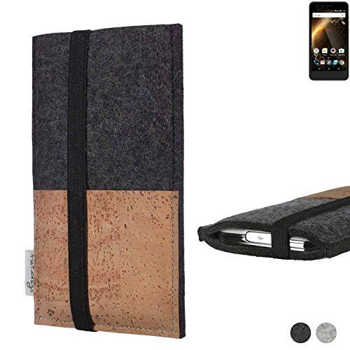 flat.design Handy Hülle Sintra für Allview P6 Energy Mini Handytasche Filz Tasche Schutz Kartenfach Case Natur Kork