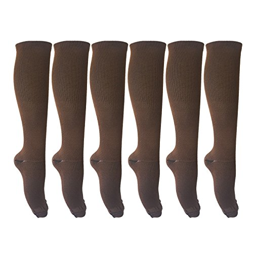 MIXSNOW 6 Pairs of Unisex Compression Socks (15-20mmHg) for Running, Nurses, Shin Splints, Travel, Flight, Pregnancy & Maternity Brown