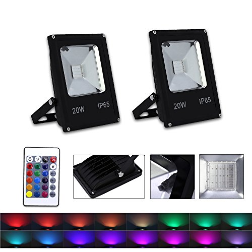 VINGO 2er Pack 20W RGB LED Strahler mit Fernbedienung IP65 Wasserdicht 16 Farben und 4 Modi LED Fluter LED Flutlicht Stimmungslichter für Weihnachten, Halloween, Garten Party Deko