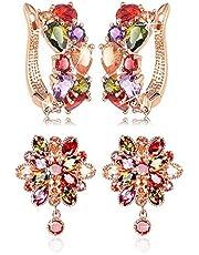 YouBella Jewellery Earrings for Women Stylish earrings Combo Set of Two Multi-Color AAA Crystal earings Stylish Fancy Party wear ear rings for Girls and Women