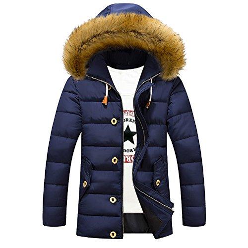 iBaste Herren verdickte Steppjacke mit Fellkapuze Warm Winterjacke Parka Wintermantel Jacket Winter Kapuzenjacke Funktionsjacke Outdoorjacke Mantel Jacke Männer Navy