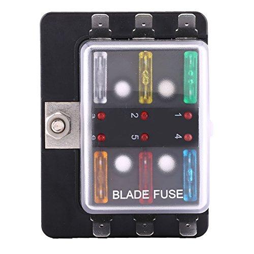 6-way Blade (6Way Circuit Klinge Sicherungskasten Block Halter, keenso Blade Fuse Box Halter mit LED-Warnlicht Kit für Auto Boot Marine Trike 5A 10A 15A 20A 25A 30A LED-Anzeige)