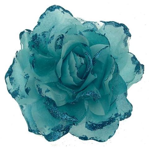 Acosta Organza Bleu turquoise Extra Large &Corsage Fleur tissu Paillettes-Broche/Elastique Bandeau/Cheveux Accessoires