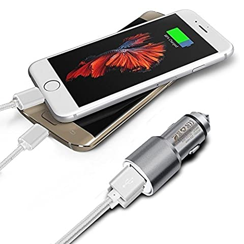 ONX3 (Grey) Quick Charge Dual Port USB Full Metal Car