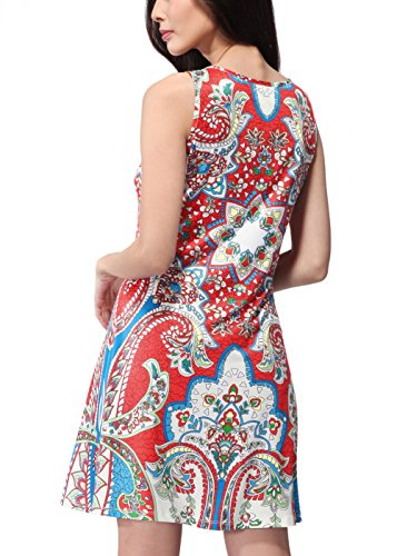Shinekoo Femmes Summer Imprimé Floral Sans Manches Décontractée Mini Robe Floral 10