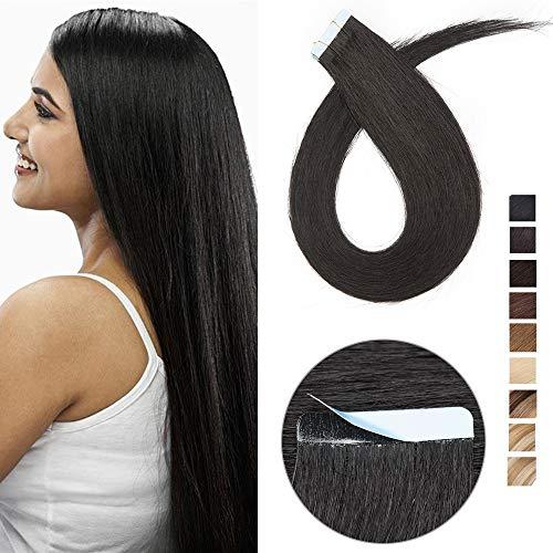 Extension biadesivo capelli veri adesive 10 fasce biadesive tape extensions 100% remy human hair neri umani lisci 25g/pack senza clip (40cm, nero intenso)