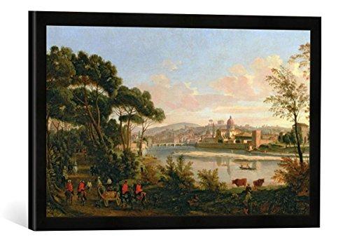 Van Florence Van (Gerahmtes Bild von Gaspar Van Wittel View of Florence from The Cascine, Kunstdruck im hochwertigen handgefertigten Bilder-Rahmen, 60x40 cm, Schwarz matt)