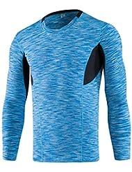 Hombres deportivas de manga larga y la aptitud de mecha ajustado de manga larga corriendo la camiseta prenda de compresión elástica 6029 , blue , xl
