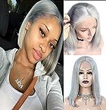 """Perruque Bresilienne Lace Frontal Cheveux Naturel Bresilien Gris Court Bob Human Hair Wigs for Women Lace Front Wig (Densité: 180%, Longueur: 12""""/30cm)"""
