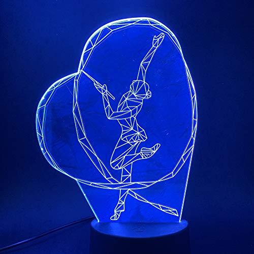 SSYYJJ 3D Illusion Nachtlampe für Kinder Dekoration Geburtstag Geschenk Tischlampen Gymnastik-Band-Tanz-Mädchen mit Fernbedienung