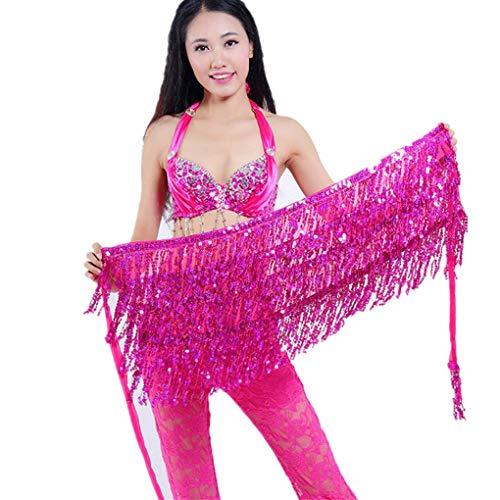 Kostüm Bauchtänzerin Heiße - Upxiang Damen Bauchtänzerin Kostüm Hip Scarf Wrap Tänzerin Kostüm Quaste Wickelrock (Heiß Rosa)