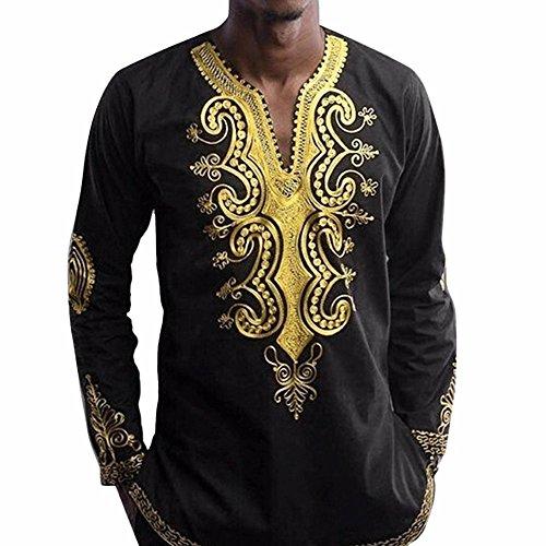 Bekleidung Loveso Männer Tee Sommerkleider Herbst Kleidung African Stil Folk Kostüm Muster Herren V Ausschnitt Langarm Tops Bluse Langarmshirt ((Größe):42 (2XL), (Kostüm Bauern Muster)