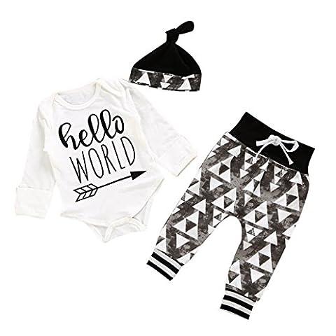 JYJM Baby Letter Print Kleidung Set mit Hut (Größe: 0-6 Monate, white) (3 Monate Baby-kleidung)