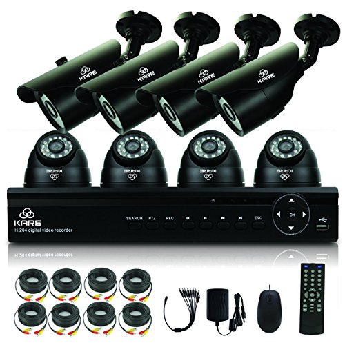 [TRUE 960P HD] KARE 8 Channel CCTV DVR Camera System with 4x Day Night Dome & 4x Bullet Cameras (960p 1280x960 1.3 Mega Pixels, Better Than 720P, Super Night Vision Distance, Email Alerts And Motion Detection, Waterproof IR Night Vision, Black)