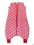 Schlummersack Schlafsack mit Füßen in rot für Mädchen Vierjahreszeiten 2.5 Tog – Äpfel - 3-4 Jahre/110 cm