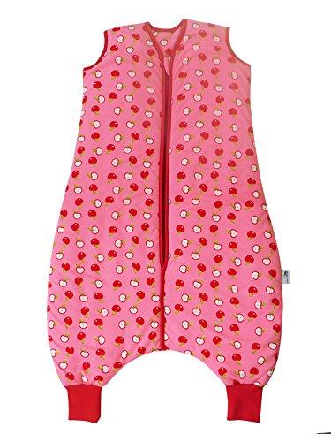 Schlummersack Ganzjahres Schlafsack mit Füssen 2.5 Tog, rosa für Mädchen - Äpfel - 80 cm