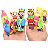 Homgaty 6 Pcs King and the Castle Wood Finger Puppets Story Telling Nursery Fairy Tale The Perfect Birthday, Christmas Gift