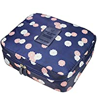 YIMOJI Portable Multifunction Beauty Travel Cosmetic Wash Bag Makeup Case Make Up Bags Pouch Toiletry ( Navy Blue - Flora)