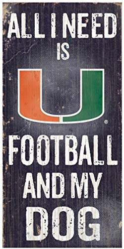 NCAA Offizielles National Collegiate Athletic Association Fan Shop authentische Holzschilder - Stake Your Areory, Ideal für Hundeliebhaber, Miami Hurricanes - Football and Dog