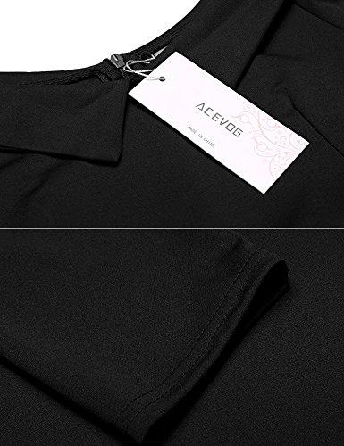 ACEVOG Damen Herbst V-Ausschnitt Vintage 50er Kleid Cocktailkleid Revers Halbarm Knielang Partykleid Abendkleid Kurz Festlich Hochzeit A Linie Kleid Schwarz