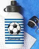 Fußball Flasche, Wasser, personalisierbar, Flasche, Flasche, Jungen Lunch Tasche, Schule, Sport blau